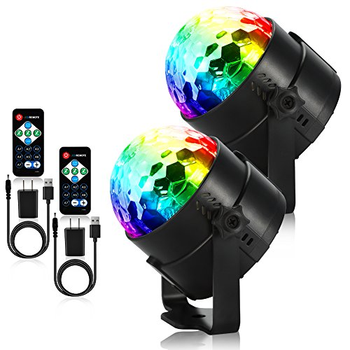 Litake Party Lights Disco Ball Strobe Light Disco Lights, 7 Colors Sound Activated Stage Light with Remote Control for Festival Bar Club Party Wedding Show Home-2 Pack(with USB)