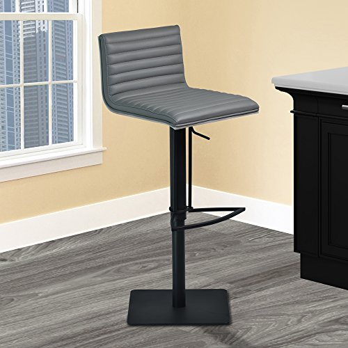 Armen Living LCCABAGRBL Cafe Swivel Adjustable Barstool in Grey Faux Leather and Black Metal Finish