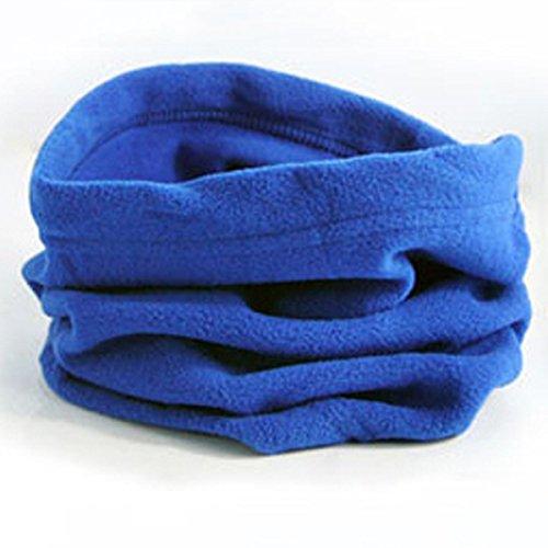 LEADALLWAY Neck Warmer Outdoor Fleece Scarf Turtleneck Collar Men and Women Winter Multifunctional Headgear Warm mask Hat - Blue Scarf Fleece