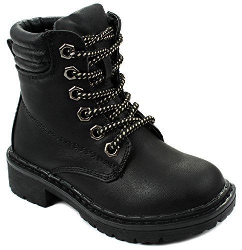 Broadway4 Kids Girls Faux Nubuck Lace Up Padded Collar Ankle Combat Boots - stylishcombatboots.com