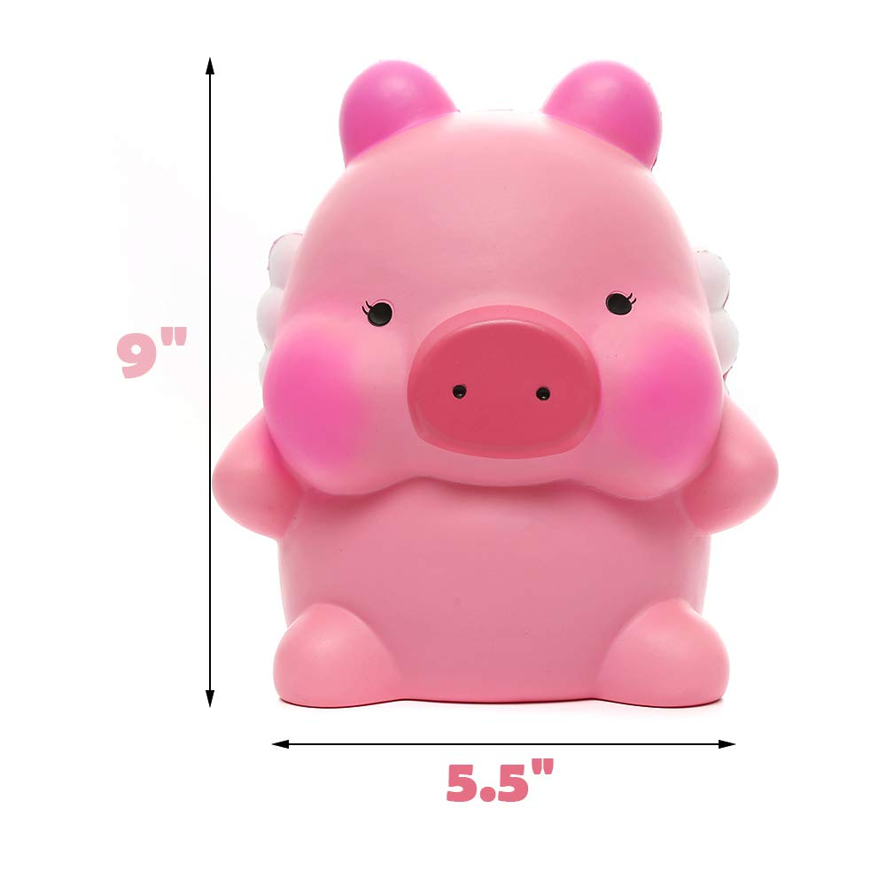 Sinofun 9 Inch Cute Pink Piggy Squishy, with White Wing, Giant Animal Squishies Package, Slow Rising Stress Reliever Squeeze Toys, Birthday Gifts for Girls/Kids by Sinofun (Image #2)