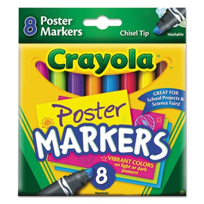 Washable Poster Markers, Chisel Tip, 8/ST, Assorted, Sold as 1 Set