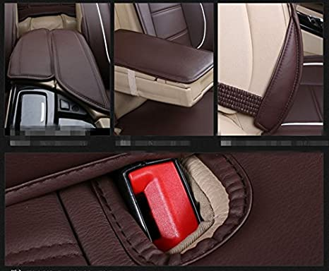 Amooca Luxurious Airbag Compatible Universal Full Set Needlework PU Leather Dacron Fabric Front Rear Car Seat Cushion Cover for EcoSport Focus Jetta Tiguan Black 6pcs
