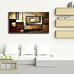 Mon Art 100% Hand Painted Oil Painting Abstract Art Large Modern Art 3 Piece Wall Art Canvas Art for Home Decoration (Stretch/Frame)