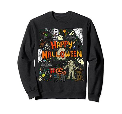 Unisex Happy Halloween Scary Retro Sweatshirt Large (Halloween Jumper)
