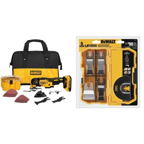 DEWALT DCS355D1 20V XR Brushless Oscillating Multi-Tool Kit with DWA4216 5-Piece Accessory Kit Bundle by DEWALT
