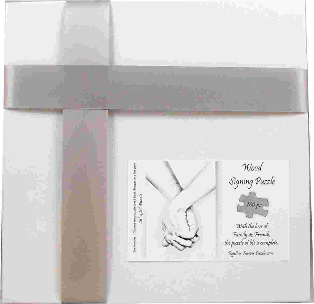 """Hand in Hand"" Alternative Wedding Guest Book Forever Tree Wood Box Puzzle 151 Piece 19 x 32.5 by Together Forever Puzzle (Image #2)"