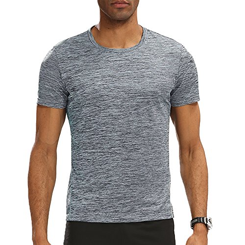Camel Apparel - CAMEL CROWN Mens Short Sleeve Shirts Athletic Cool Dry Running Tops Moisture Wicking Shirt(Grey, S)