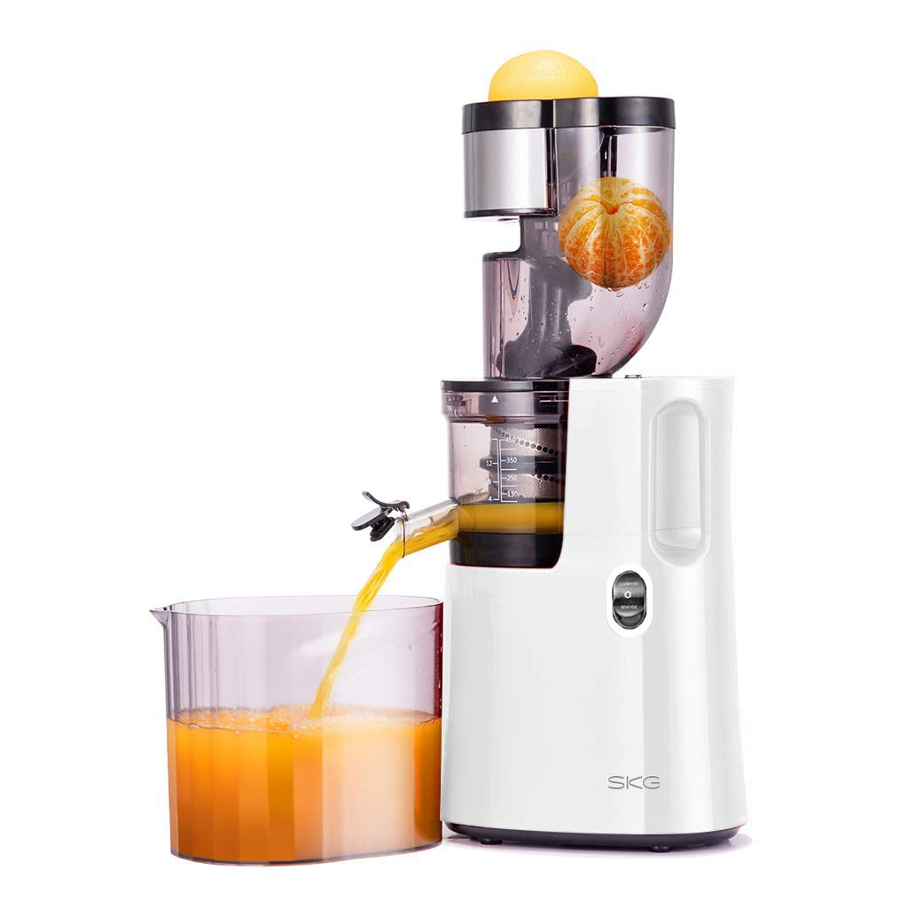 SKG Q8 Wide Chute Slow Masticating Juice Extractor, Cold Press Juicer Machine for High Nutrient Fruit and Vegetable Juice with BPA Free (200W AC Motor, 45 RPM), White