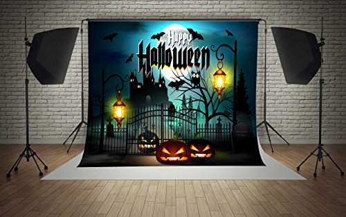 7x5ft Microfiber Happy Halloween Moon Pumpkins Castle Lamps Party Decorations Photography Backdrop Seamless No Creases Folding and Washable Photo Booth Background