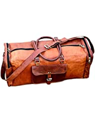 DHK 24 Leather Duffel Travel Gym Overnight Weekend Leather Bag Sports Cabin