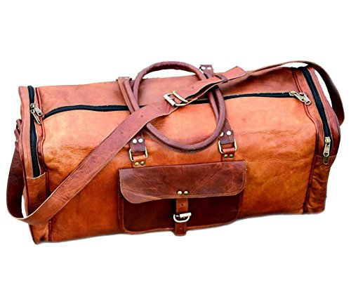 Cheap 24 Inch Vintage Leather Duffel Travel Gym Sports Overnight Weekend Duffel Bag