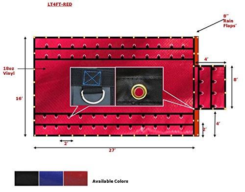 (16' x 27' Flatbed Tarps Heavy Duty 18oz Steel Tarp with Flap - Red)