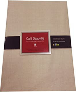 Cafe Deauville Sand 60x84 Oval Vinyl Tablecloth [Kitchen]