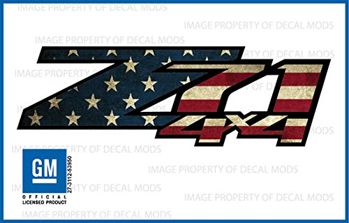 Chevy Silverado / GMC Sierra Z71 4x4 decals stickers American Flag - WORN (2007-2013) bed side 1500 2500 HD (set of 2) [Officially Licensed, made in the USA, brand Decal Mods] ()