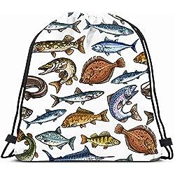 Ahawoso Drawstring Backpack String Bag 14X18 Fishing Pattern Sea Freshwater Fish Blue Animals Flounder Wildlife Nature Marlin Swim Bass Carp Pike Salmon Sport Gym Sackpack Hiking Yoga Travel Beach