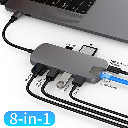 HyperDrive USB Type C Hub Dongle, 8in1 USB-C Multiport Adapter for MacBook, Ultrabook, PC, C-USB Device, Aluminum USB-C Hub w Gigabit Ethernet, PD Charging, Micro n SD Reader, HDMI, Mini DP, 2xUSB3.1