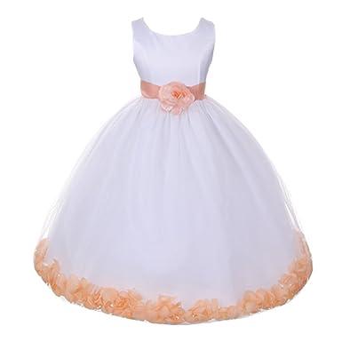 Amazon little girls ivory burgundy petals organza sash flower little girls ivory burgundy petals organza sash flower girl dress 4 mightylinksfo