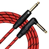 KLIQ Guitar Instrument Cable, 20 Ft - Custom Series with Premium Rean-Neutrik 1/4'' Straight to Right Angle Gold Plugs, Red/Black Tweed