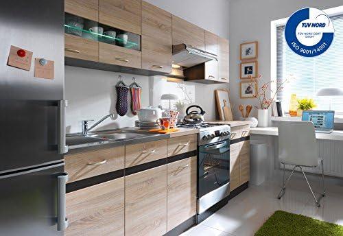 Küche 240cm von FIWODO® - ERWEITERBAR - günstig + schnell - Einbauküche  Junona Line Set 240 - 4 Fronten wählbar (EICHE / EICHE))