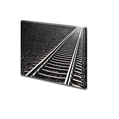 Canvas Prints Wall Art - Close up of Railway Track on Black Gravel| Modern Home Deoration/Wall Art Giclee Printing Wrapped Canvas Art Ready to Hang - 24