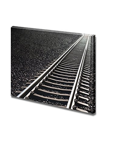 Close up of Railway Track on Black Gravel Home Deoration Wall Decor ing