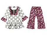 WEIJU Long Sleeve Boutique Outfits Dot Ruffle Top and Legging Set,100(2-3T)