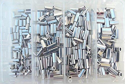 Mini Aluminum Oval Crimp Kit 100pcs each 1.0,1.1,1.3,& 1.5mm 80lb-200lb
