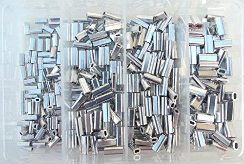 Oval Crimp - Mini Aluminum Oval Crimp Kit 100pcs each 1.0,1.1,1.3,& 1.5mm 80lb-200lb