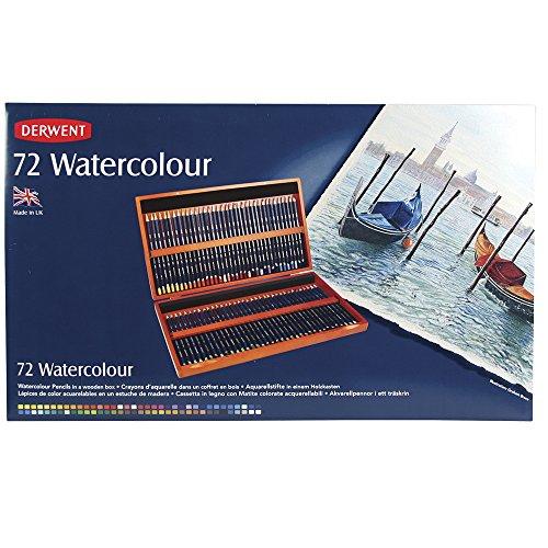 Derwent Watercolor Pencil Box (Derwent Colored Pencils, WaterColour, Water Color Pencils, Drawing, Art, Wooden Box, 72 Count (32891))