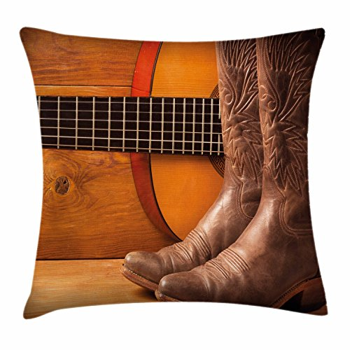 Ambesonne Western Throw Pillow Cushion Cover, American Country Music Theme Guitar Instrument and Cowboy Shoes on Wood Image, Decorative Square Accent Pillow Case, 20 X 20 Inches, Brown Orange