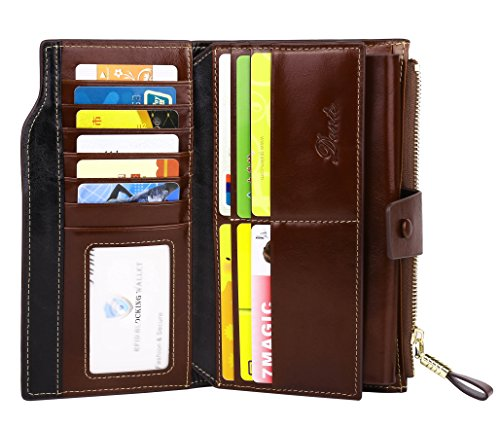 Dante Women RFID Blocking Real Leather Wallet - Clutch Wallet for Women (Coffee)