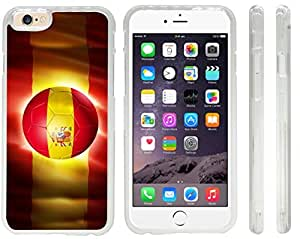 Rikki KnightTM Brazil World Cup 2014 Spain Team Football Soccer Flag Design iPhone 6 Case Cover (Clear Rubber with front bumper protection) for Apple iPhone 6
