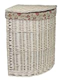 Small Corner White Wash Laundry Basket with a Garden Rose Lining