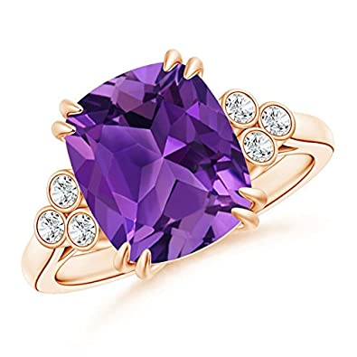 Angara Solitaire Double Claw Tanzanite Trinity Ring with Diamond in Rose Gold tegJ0FRXS