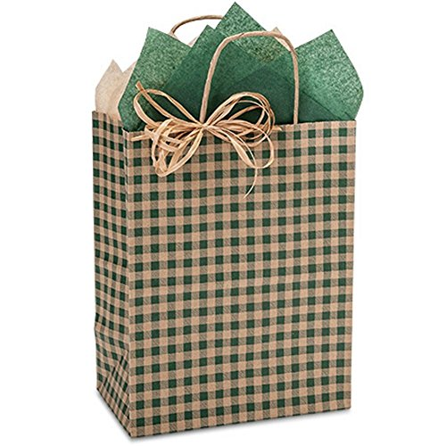 Hunter Gingham Paper Shopping Bags - Cub Size - 8 x 4 3/4 x 10 1/4in. - 100 Pack by NW