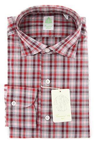 Finamore New Napoli Red Check Extra Slim Shirt (Shirt Red Napoli)