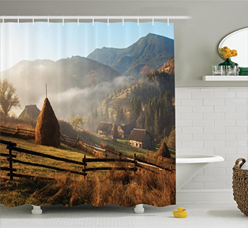 Morning Mist (Woodland Decor Shower Curtain Set By Ambesonne, Morning Mist Haze in Mountain Woodland Autumn Dawn Houses Fences Landscape, Bathroom Accessories, 84 Inches Extralong)
