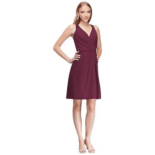 Short Chiffon V-Neck Bridesmaid Dress with Lace Back Style F19439