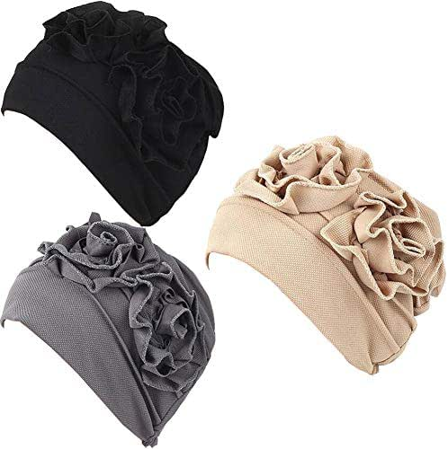 Luckystaryuan 3Pack Womens Chemo Hat Beanie Turban Headwear for Cancer Patients