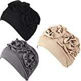 Luckystaryuan 3Pack Womens Chemo Hat Beanie Turban Headwear for Cancer Patients (Style 1)