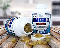 ULTRA Omega 3 Fish Oil 3,000mg High Strength Burpless Joint Support Supplement 915mg EPA and 630 mg DHA Liquid Filled Gel Capsules From Molecularly Distilled Pure Ocean Living Cold Water Fish Oils
