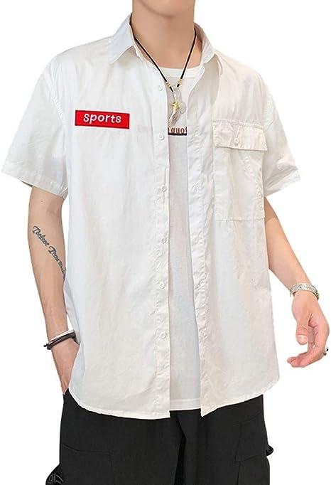 LIBAIYU Lino Camisas Camisas de Manga Corta para Hombre ...