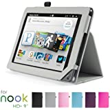 """GMYLE Gray PU Leather Slim Folio Magnetic Flip Stand Case Cover with Wake Up Sleep Function for Barnes & Noble Nook HD+ Plus 9 """" inches Tablet"""
