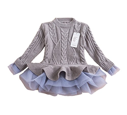belababy Girls Sweater Knitted Organza Stitching Pleated Tutu Shrugs Pullover, Grey