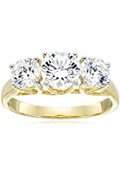 10k Yellow Gold Three-Stone Ring Made with Swarovski Zirconia (2 cttw)