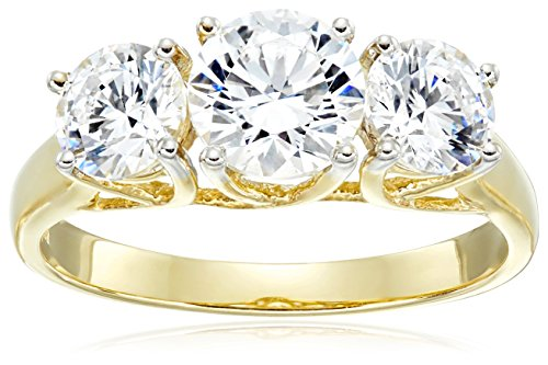 Jewelili 10kt Yellow Gold 3 Stone Ring Set With Round Cut Swarovski Zirconia (2 Cttw)