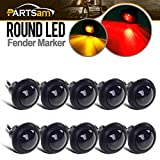 "Partsam 10x 3/4"" Smoked Amber/Red LED Clearance Trailer Boat Marker Light Flush Hot Spot 1Led"