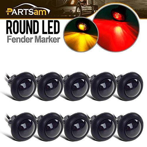 Partsam 10x 3/4 Smoked Amber/Red LED Clearance Trailer Boat Marker Light Flush Hot Spot 1Led, Sealed Mini Black Round 3/4 Inch Led Trailer Lights Grommet Mount