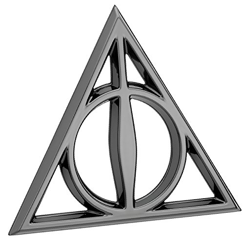 Fan Emblems Deathly Hallows 3D Car Emblem Black Chrome, Harry Potter Automotive Sticker Decal Badge Flexes to Fully Adhere to Cars, Trucks, Motorcycles, Laptops, Windows, Almost Anything]()